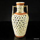 Antique Porcelain Basket Vase by Rudolstadt Works   Rose and Gold Trim
