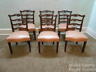 Antique 1940s Solid Mahogany Set 6 Chippendale Style Ribbon Back Dining Chairs