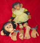 VINTAGE RUBBER FACE GIRL MONKEY & XTRA HEAD FEET BEAR KNICKERBOCKER RUSHTON LOT
