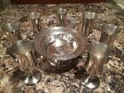 Lot Of 7 Silverplate Small Goblets & Meriden Compote Candy Dish Ornate Detailed