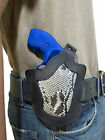 New Barsony Black Leather Snake Skin Pancake Holster for Ruger Rossi 2 Revolver