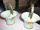 Two Made in England Vintage Pottery Baskets with Gold Handles in Green Color