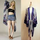 Vintage Embroidered Boho Misses Hippie Paisley Print Kimono Cover Up Cardigan