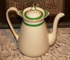 BEAUTIFUL Old Queens Green Solianware SOHO Pottery Large White English Teapot