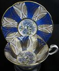 Paragon Fine Bone China Tea Cup and Saucer SET ROYAL BLUE GOLD GILT CORNFLOWER