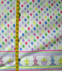 EASTER EGGS PRINT CHICKS BUNNY DOUBLE BORDER  100% COTTON FABRIC 42X43 INCHES