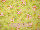 Easter Bunny Pink Green Flowers Easter Eggs Rabbit Spring Cotton Fabric YARD