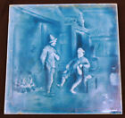 19thC English Staffordshire Minton & Hollins Co Blue Tile Men Drinking, Log Fire