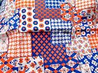 Vtg Red White Blue Floral Patchwork Cotton Blend Dress Curtain Fabric 45