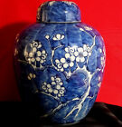 Antique Chinese Ginger Jar with Lid Hand Painted  Flowers 19th Century Signed