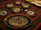 FRENCH -  BLUE AND WHITE, GOLD TRIM, TURKEY PLATTER AND 12 PLATES