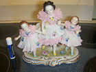 ANTIQUE BEAUTIFUL DRESDEN PORCELAIN LACE FIGURINE 3 GIRLS 6  1/2