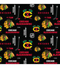 NHL CHICAGO BLACKHAWKS  PRINT 100% COTTON FABRIC BY THE 1/2 YARD