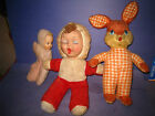 3 1950's Plush Vinyl Face Dolls Bunny Stuffed Animal Fabric  Vintage   51E2