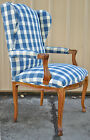 Vtg French Country Style Carved Hoof Foot Wing Back Fireside Arm Dining Chair
