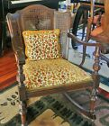 Antique Arts and Crafts Wicker Rocking Chair Fabric Pillow Cushion Wood Rocker!
