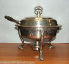 Vintage Silverplate Chafing Dish Set With Two Bowls & One Lid Lions Feet