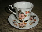 Cup & Saucer - Elizabethan Pattern - White ,With G Blossoms On White Background
