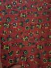 COTTON FABRIC ROOSTER FLORAL  quaint 32 inches SEW CRAFTS QUILT RED