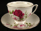 Colclough Cup and Saucer White and Red Roses
