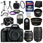 NEW Nikon D5300 Digital SLR Camera +4 Lens 18 55mm VR 70 300 + 32GB Complete Kit