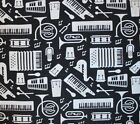 SNUGGLE FLANNEL  WHITE MUSIC INSTRUMENTS on BLACK 100 Cotton Fabric NEW  BTY