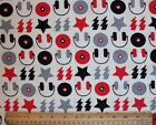 SNUGGLE FLANNEL *ROCK'N ROLL MUSIC*RED-GRAY-BLACK/OFF-WHITE 100% Cotton NEW 34