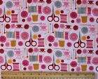SNUGGLE FLANNEL SEWING NOTIONS SCISSORS THREAD on PINK100 Cotton Fabric BTY