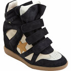 Isabel Marant Bayley suede and leather high-top wedge sneakers in Navy Sz. 36