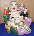 Chinese Famille Rose Bisque Face Porcelain Figurine Of Smiley Buddha With 5 kids