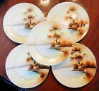Tree in the Meadow~SET OF 5~Red M Noritake-Japan~Hand Painted 8 1/2