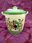 BEAUTIFUL ANTIQUE HAND PAINTED JAPANESE POTTERY JAR WITH LID  CERAMIC JAPAN