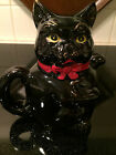 VINTAGE Shafford Redware Sugar Bowl Black Cat Painted Covered With Lid Japan