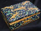 g Rare Signed Majolica HP Jewel Casket Box ITALY MAP Mengaroni Putti Cherubs NR
