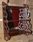 VINTAGE MAHOGANY  WALL SHELF CURIO WITH MIRROR BACK AND FRETWORK SIDES
