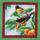 Sweet Melody Orioles fabric panel square quilting cotton quilt block