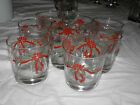 Poinsettia Ribbons China 8 clear egg nog whiskey glasses