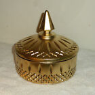 Vintage Indiana Princess Glassware Covered Candy Dish Jar- Gold Over Amber Glass