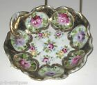 Nippon Royal Kinran Gold Encrusted Pin Dish Hand Painted Floral Decoration