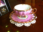 Royal Sealy 3 Footed SWAN Handle QUILTED PINK IRIDESCENT Lattice Cups and Saucer