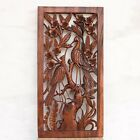 Wooden Relief Panel Wall Sculpture Hand Carved Herons in ricefield Wall Decor