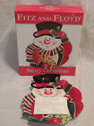 Fitz and Floyd Merry Christmas Snowman Canape Plate Serving Platter Dish in Box