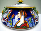 NEW G.P. DERUTA LARGE LADY BOWL VASE WITH LID 12
