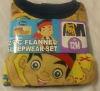 2-Piece Flannel Sleepwear Set Boys Pajamas Sz 12M Jake and the Never Land Pirate