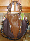 New~NWT~orYANY Pebble Leather Color-Block Victoria Large Hobo~Coffee Multi