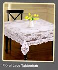 WHITE FLORAL LACE TABLE TOPPER TABLECLOTH ~  35