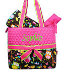 Personalize Cute Owl Quilted 3 Pcs Set Diaper Bag Free MONOGRAM Embroidery