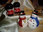 Vintage 2 Sets, Snowman & Holiday Soldiers Porcelain SALT AND PEPPER SHAKERS