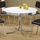 Coaster Vintage Style Kitchen Dining Round Table 4 Chairs Chrome Cushions Cafe