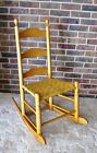 VINTAGE LADDER BACK ROCKING CHAIR, CANE SEAT, SOLID WOOD